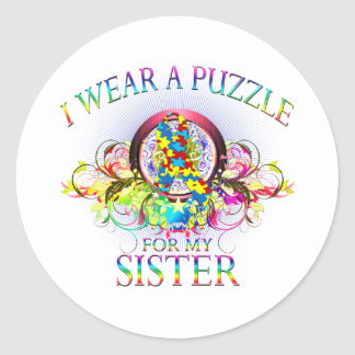 I Wear A Puzzle for my Sister (floral) Classic Round Sticker