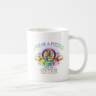 I Wear A Puzzle for my Sister (floral) Coffee Mug