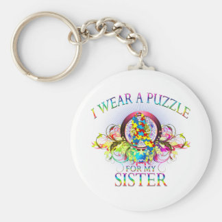 I Wear A Puzzle for my Sister (floral) Keychain