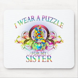 I Wear A Puzzle for my Sister (floral) Mouse Pad