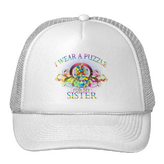 I Wear A Puzzle for my Sister (floral) Trucker Hat