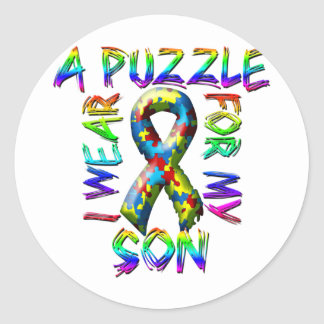 I Wear A Puzzle for my Son Classic Round Sticker