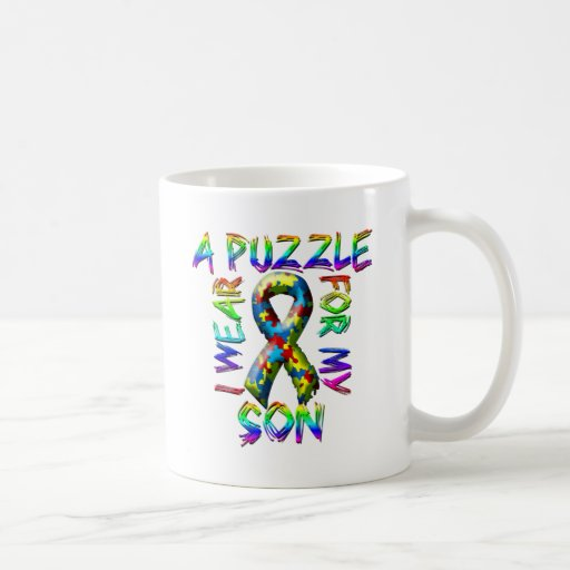 I Wear A Puzzle for my Son Coffee Mugs