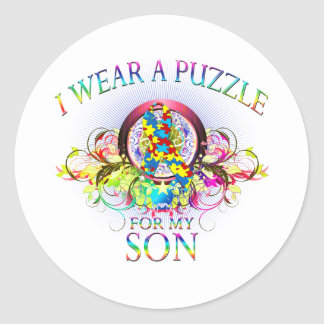I Wear A Puzzle for my Son (floral) Classic Round Sticker
