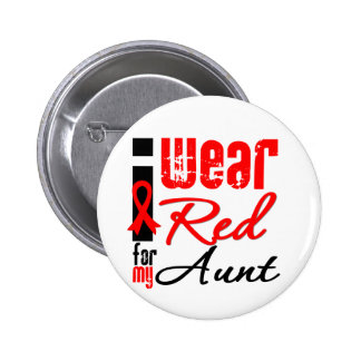 I Wear a Red Ribbon For My Aunt Button