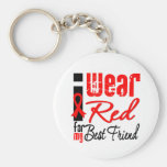 I Wear a Red Ribbon For My Best Friend Keychains