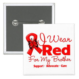I Wear a Red Ribbon For My Brother 2 Inch Square Button