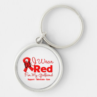I Wear a Red Ribbon For My Girlfriend Keychain