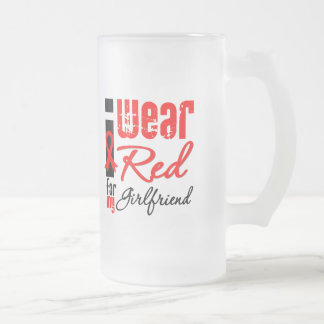 I Wear a Red Ribbon For My Girlfriend 16 Oz Frosted Glass Beer Mug