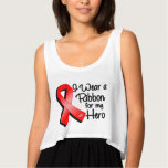 I Wear a Red Ribbon For My Hero Flowy Crop Tank Top