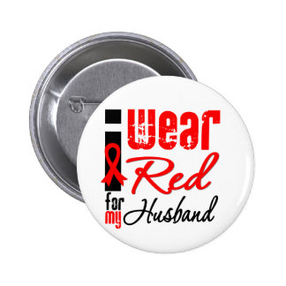 I Wear a Red Ribbon For My Husband Button