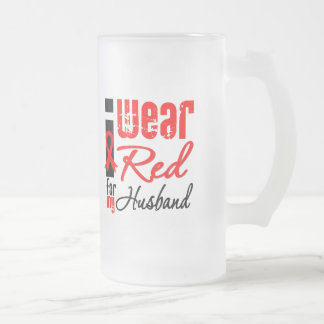 I Wear a Red Ribbon For My Husband 16 Oz Frosted Glass Beer Mug