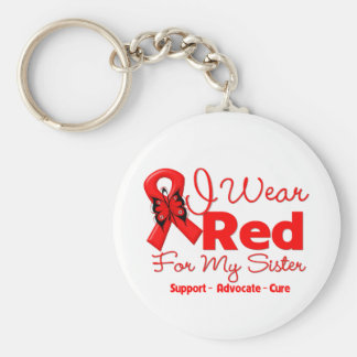 I Wear a Red Ribbon For My Sister Basic Round Button Keychain