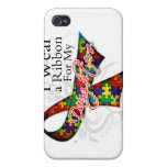 I Wear a Ribbon For My Daughters Autism Awareness iPhone 4 Case