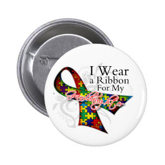 I Wear a Ribbon For My Granddaughter - Autism Awar Button