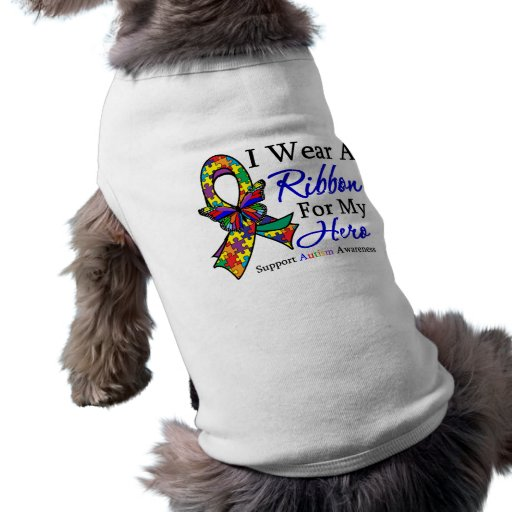 I Wear a Ribbon For My HERO Autism Doggie Tee