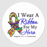 I Wear a Ribbon For My HERO Autism Round Sticker