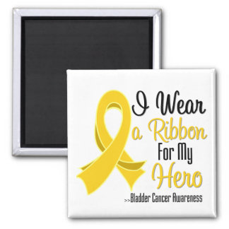 I Wear a Ribbon For My Hero - Bladder Cancer 2 Inch Square Magnet