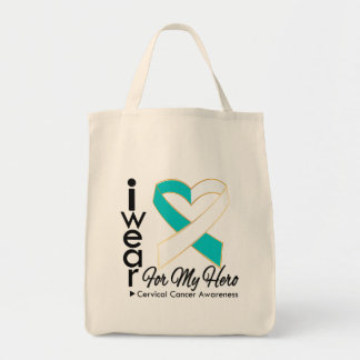 I Wear a Ribbon For My Hero - Cervical Cancer Grocery Tote Bag