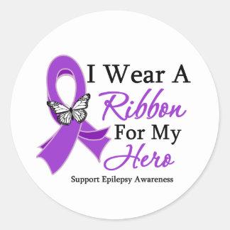 I Wear A Ribbon For My HERO Epilepsy Classic Round Sticker