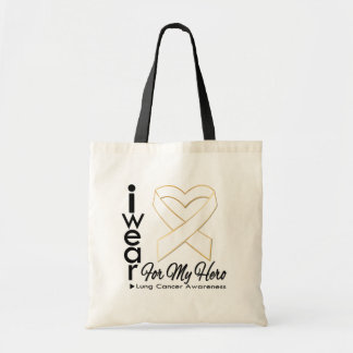 I Wear a Ribbon For My Hero - Lung Cancer Budget Tote Bag
