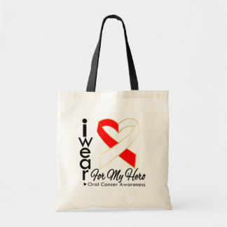 I Wear a Ribbon For My Hero - Oral Cancer Canvas Bags