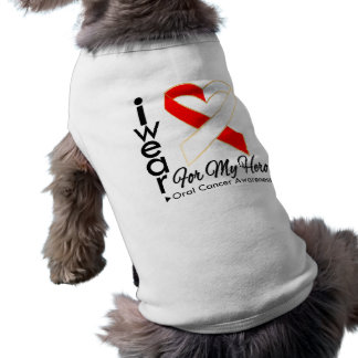 I Wear a Ribbon For My Hero - Oral Cancer Doggie T-shirt