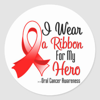 I Wear a Ribbon For My Hero - Oral Cancer Round Stickers