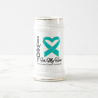 I Wear a Ribbon For My Hero - Ovarian Cancer 18 Oz Beer Stein