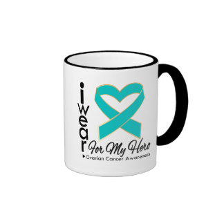 I Wear a Ribbon For My Hero - Ovarian Cancer Ringer Coffee Mug