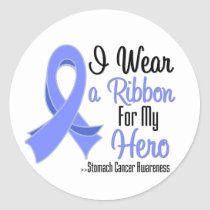I Wear a Ribbon For My Hero - Stomach Cancer Classic Round Sticker