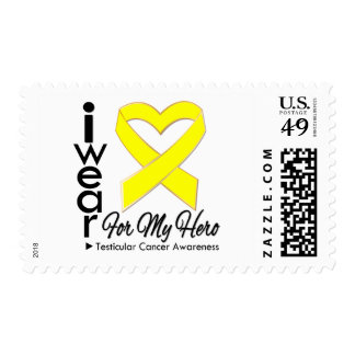I Wear a Ribbon For My Hero - Testicular Cancer Postage Stamps