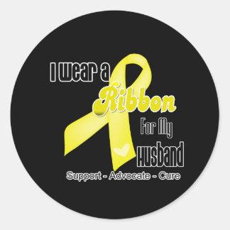 I Wear a Ribbon For My Husband - Sarcoma Classic Round Sticker