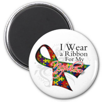 I Wear a Ribbon For My Nephew - Autism Awareness 2 Inch Round Magnet
