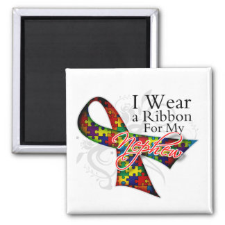 I Wear a Ribbon For My Nephew - Autism Awareness 2 Inch Square Magnet
