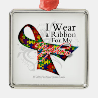 I Wear a Ribbon For My Nephew - Autism Awareness Christmas Ornament