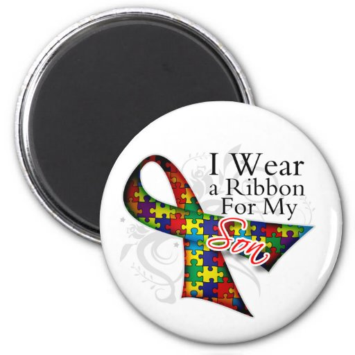 I Wear a Ribbon For My Son - Autism Awareness 2 Inch Round Magnet
