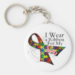 I Wear a Ribbon For My Son - Autism Awareness Basic Round Button Keychain
