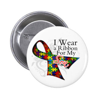I Wear a Ribbon For My Son - Autism Awareness Button