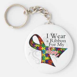 I Wear a Ribbon For My Son - Autism Awareness Keychain