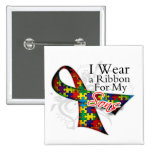 I Wear a Ribbon For My Sons - Autism Awareness Pinback Buttons