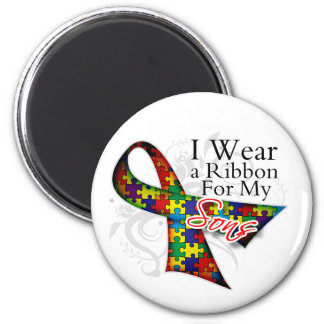 I Wear a Ribbon For My Sons - Autism Awareness Fridge Magnets