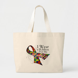 I Wear a Ribbon For My Students - Autism Awareness Large Tote Bag