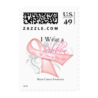 I Wear a Ribbon Hero in My Life - Breast Cancer Postage Stamps