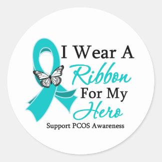 I Wear A Ribbon HERO PCOS Sticker