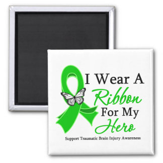 I Wear A Ribbon HERO Traumatic Brain Injury 2 Inch Square Magnet