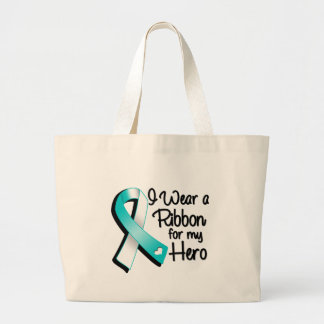I Wear a Teal and White Ribbon For My Hero Jumbo Tote Bag