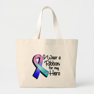 I Wear a Teal Pink and Blue Ribbon For My Hero Large Tote Bag