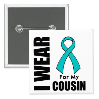 I Wear a Teal Ribbon For My Cousin 2 Inch Square Button