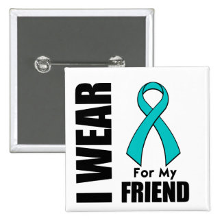 I Wear a Teal Ribbon For My Friend Button
